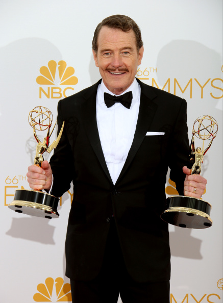 LOS ANGELES, CA - AUGUST 25: Bryan Cranston, winner of the Outstanding Drama Series Award and Outstanding Lead Actor in a Drama Series for 'Breaking Bad' poses at Nokia Theatre L.A. Live on August 25, 2014 in Los Angeles, California. (Photo by Dan MacMedan/WireImage)