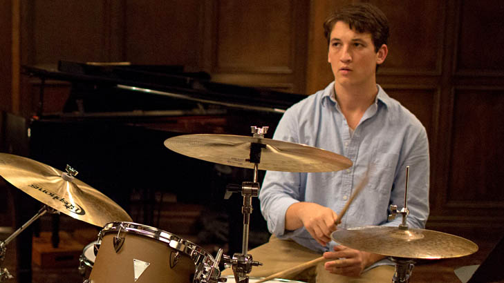 """This image released by Sony Pictures Classics shows J.K. Simmons , left, and Miles Teller in a scene from """"Whiplash."""" (AP Photo/Sony Pictures Classics, Daniel McFadden)"""